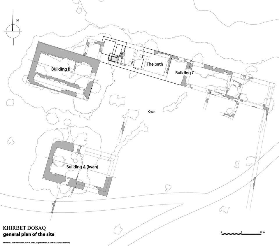 Plan général du site (©Mission Kh. Al-Dusaq/relevés et dessin Ch. March 2008-2009 & R. Elter 2014)